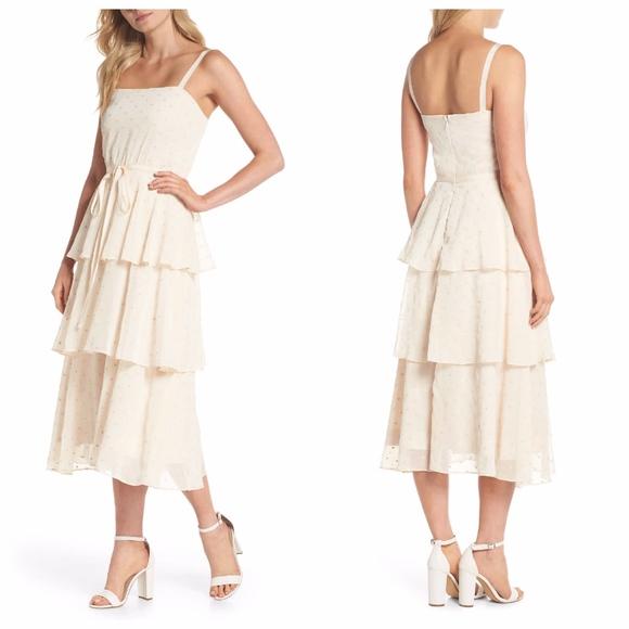 Gal Meets Glam Florence tiered chiffon dot dress